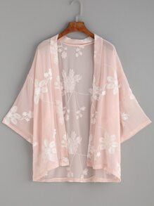 Pink Flower Embroidered Kimono
