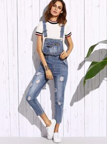 Blue Ripped Bleach Wash Overall Jeans