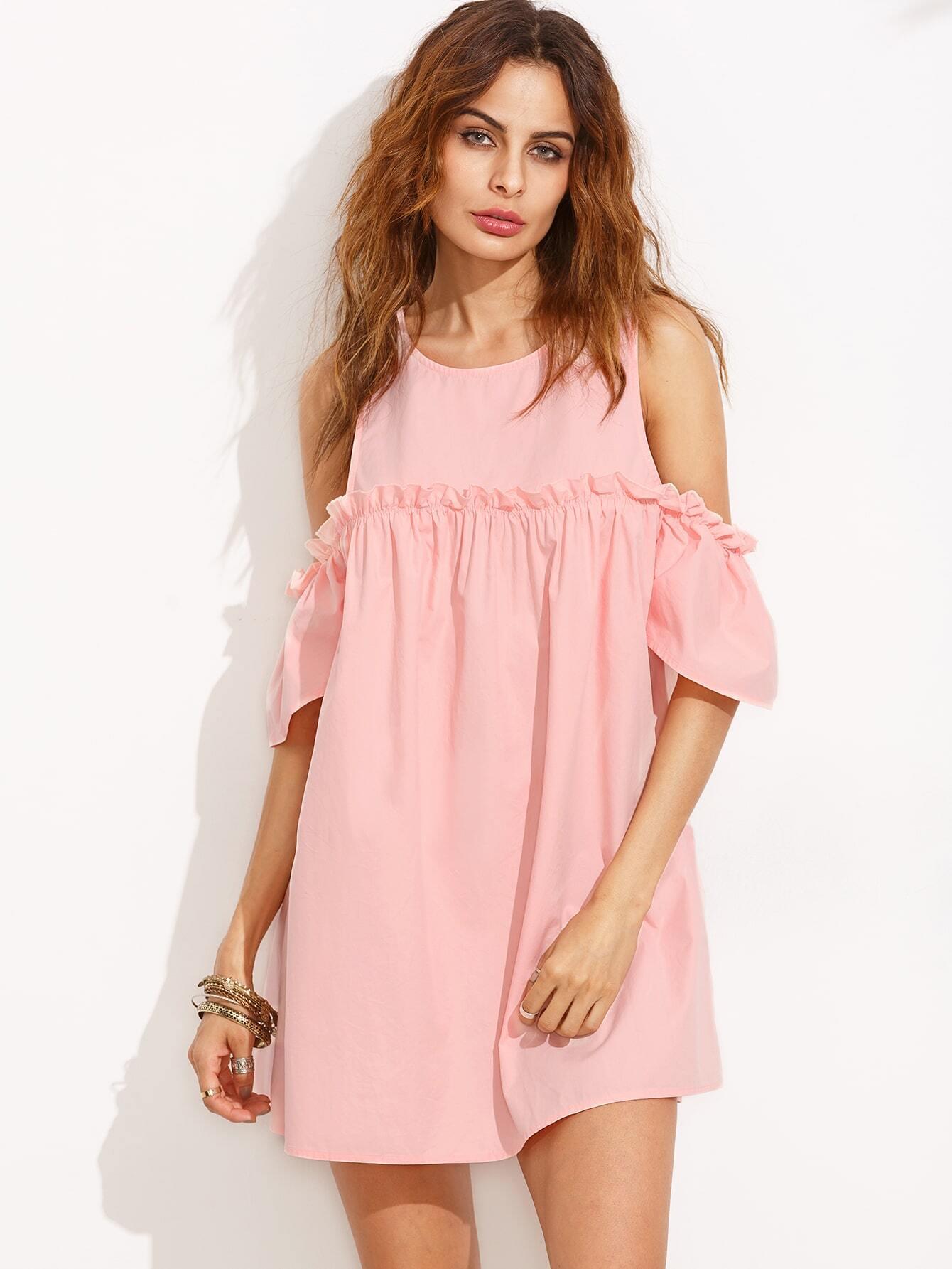 Pink Ruffle Cold Shoulder Shift Dress EmmaCloth-Women Fast Fashion ...