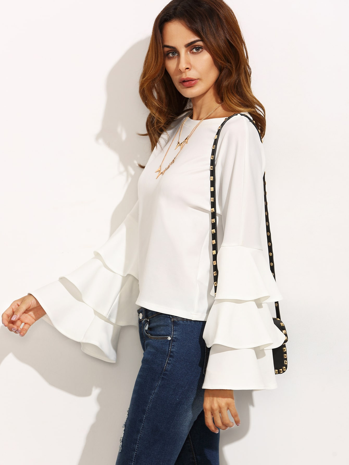 White Round Neck Ruffle Long Sleeve Blouse EmmaCloth-Women Fast ...