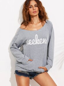 Grey Letter Print Pocket Long Sleeve Sweatshirt