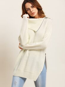 Beige Lapel Zipper Split Side Long Sleeve Sweater