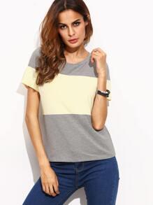 Color Block Round Neck Short Sleeve T-shirt