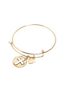 Gold Cross Relief Charm Expandable Bangle
