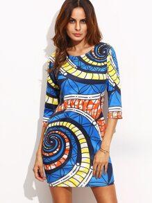 Blue Spiral Print Sheath Dress