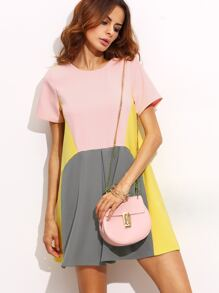 Color Block Pocket Loose Fitted Dress