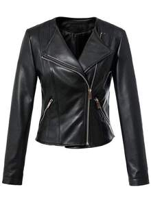 Black Lapel Zipper Slim Jacket