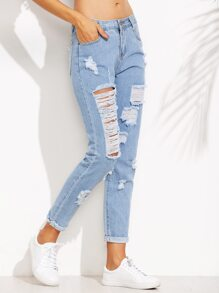 Blue Distressed Roll Hem Jeans