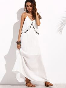 White Spaghetti Strap Cut Away Back Maxi Dress