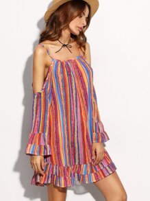 Multicolor Print Cold Shoulder Ruffle Hem Dress