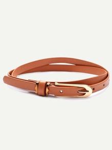 Camel Buckled Skinny Wrap Belt