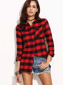Black Red Plaid Slit High Low Blouse