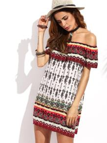 Tribal Print Ruffle Off The Shoulder Shift Dress