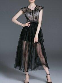 Black Gauze Contrast Lace Sheer Dress