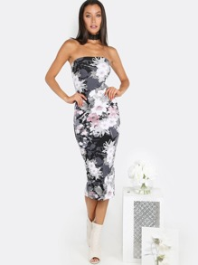 Floral Tube Top Midi Dress BLACK