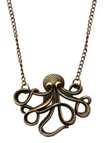 Antique Bronze Octopus Statement Necklace