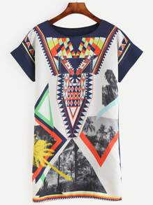 Multicolor Printed Shift Dress