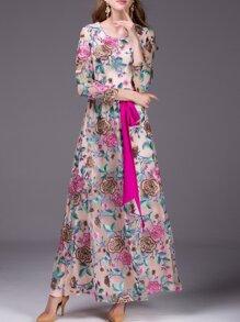 Beige Gauze Embroidered Tie-Waist Maxi Dress