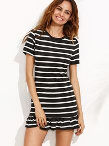 Black Striped Ruffle Hem Tee Dress