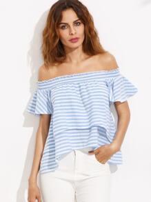 Blue Stripe Off The Shoulder High Low Blouse