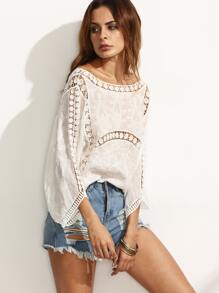 Beige Hollow U Back Three Quarter Sleeve Blouse