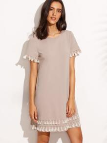 Dark Pink Tassel Hem Short Sleeve Shift Dress