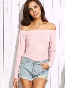 Pink Off The Shoulder Long Sleeve T-shirt
