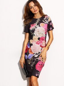 Floral Print Round Neck Short Sleeve Sheath Dress
