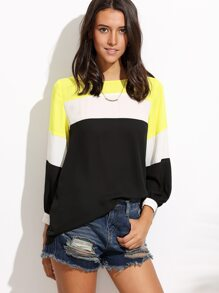 Color Block Round Neck Long Sleeve Blouse