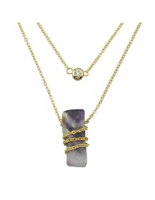 Purple Two Layers Necklace Pendant