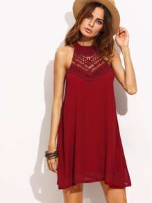 Burgundy Crochet Insert Keyhole Halter Neck Dress