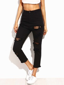 Black Ripped Frayed Skinny Ankle Jeans