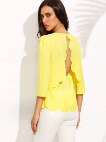 Yellow Scoop Neck Cut Out Back Scallop Hem Blouse