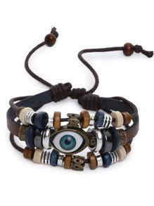 Eye Shaped Beaded Multilayer Bracelet