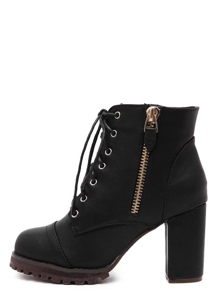 Black Lace Up Side Zipper Chunky Heels Ankle Boots EmmaCloth-Women ...
