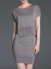 Grey Knit Top With Bodycon Skirt