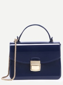Navy Pushlock Closure Plastic Handbag With Chain