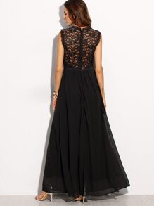 Black Lace Overlay Maxi Dress