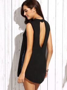 Black Cutout Sides Split Sleeveless Top