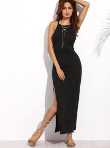 Black Spaghetti Strap Criss Cross Back Split Long Dress