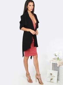 Black Lapel Long Sleeve Outerwear