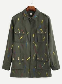 Olive Green Brush Stroke Print Multi Pocket Outwear