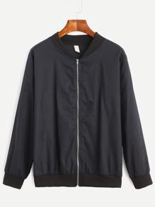 Black Drop Shoulder Zipped Bomber Jacket