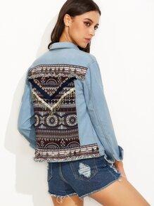 Blue Embroidered Back Denim Jacket With Coin Fringe Detail