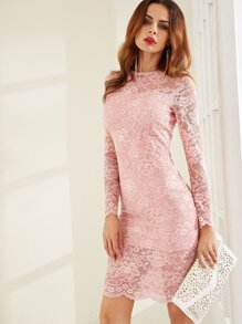 Pink Floral Lace Overlay Pencil Dress
