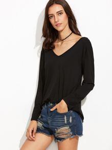 Black V Neck Lattice Back T-shirt