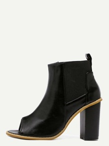 Black Faux Leather Peep Toe Elastic Ankle Boots