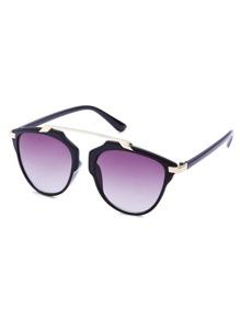 Black Frame Metal Bridge Ombre Lens Sunglasses