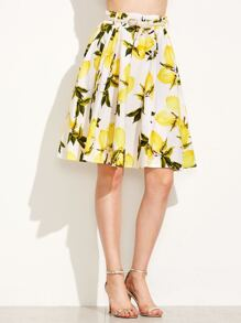 Lemon Print A-Line Skirt With Belt