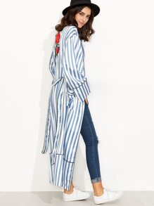 Blue and White Striped Rose Embroidered Tie Waist Outerwear